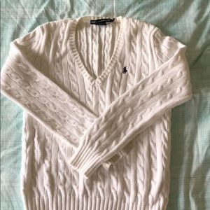 White Ralph Lauren cable knit sweater